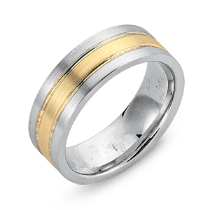JAMES KURK White Gold Mens Wedding Band With Yellow Inlay