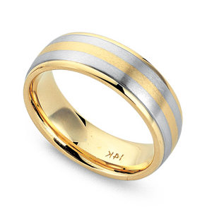 JAMES KURK Yellow Gold Mens Wedding Band With Three Matte White And Stripes