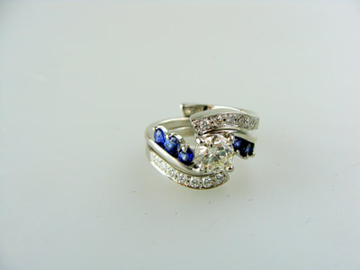 Custom Diamond Jacket for Sapphire and Diamond Engagement Ring.